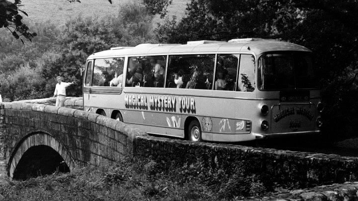 beatles magical mystery tour bus stuck at narrow bridge 1967