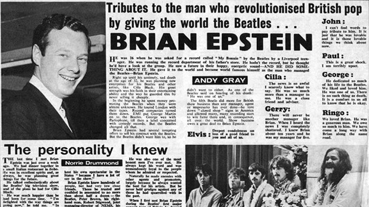 brian epstein death tribute newspaper 1967