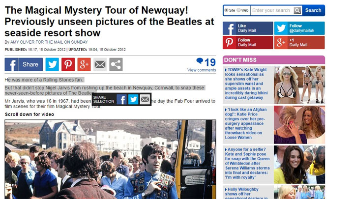 beatles newquay daily mail news
