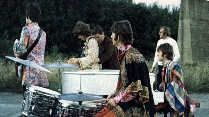 The Beatles filing the Magical Mystery Tour