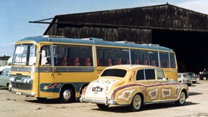 The Magical Mystery Tour Bus and John's Psychedelic Rolls Royce